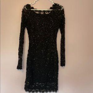 A black lace sequin dress